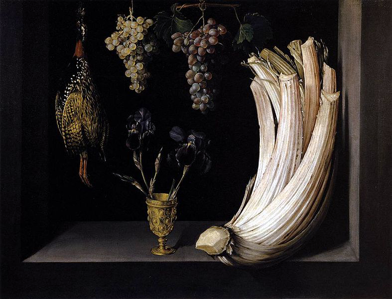 Felipe_Ramirez_Still_Life_with_Cardoon_Francolin_Grapes_and_Irises